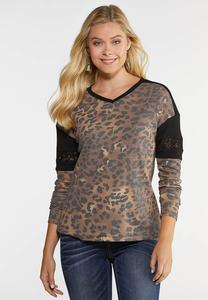 Plus Size Leopard And Lace Thermal Top