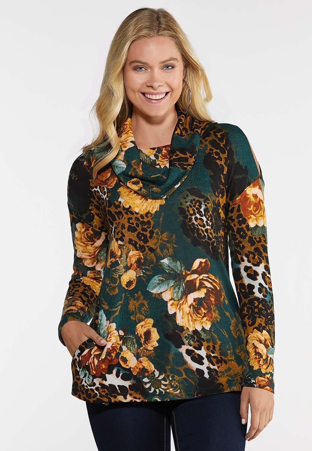 Plus Size Wild Floral Cowl Neck Top
