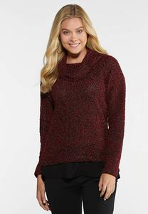 Layered Cowl Neck Sweater
