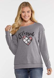 Plus Size Blessed Heart Sweatshirt