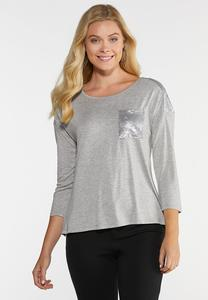 Plus Size Sequin Shoulder Tee