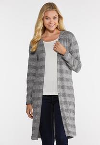 Gray Stripe Cardigan Sweater