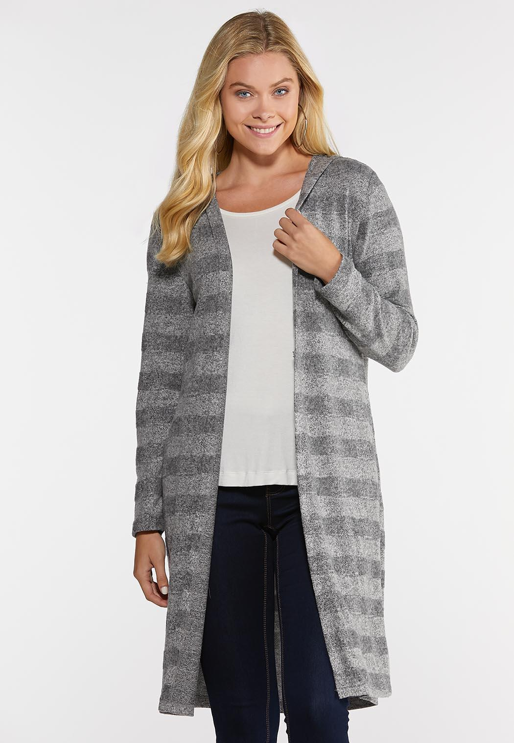 Plus Size Gray Stripe Cardigan Sweater