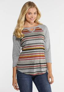 Plus Size Cozy Stripe Top
