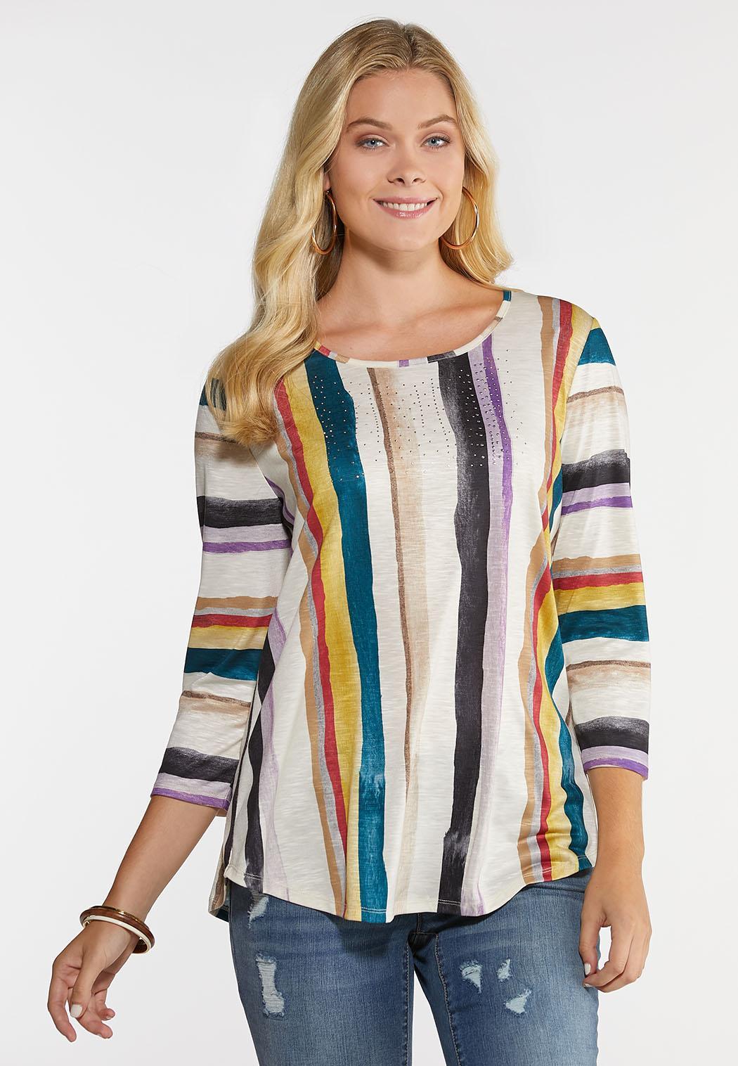 Plus Size Embellished Stripe Top