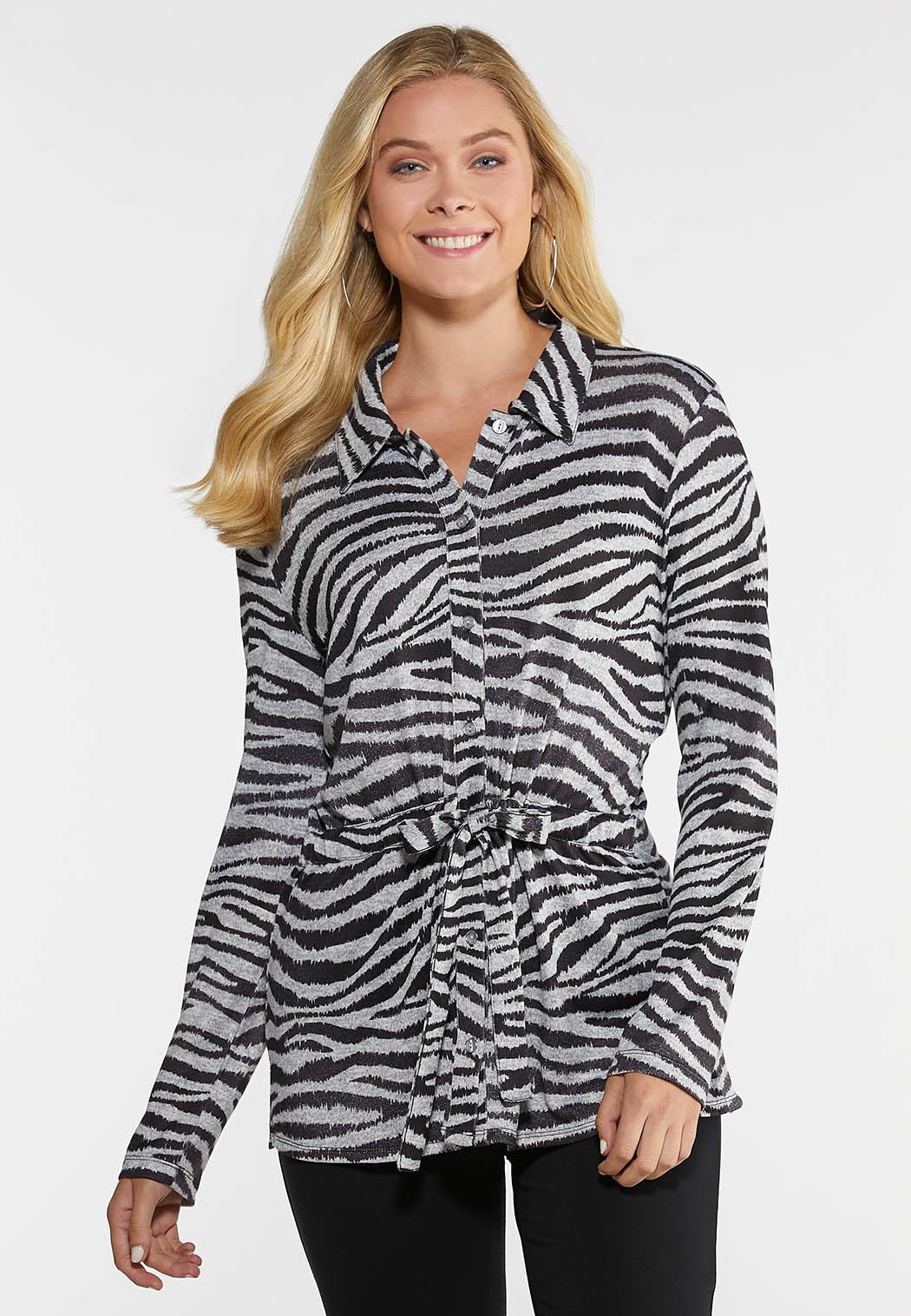 Plus Size Zebra Belted Shirt