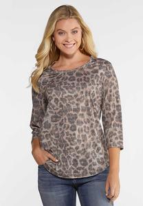 Plus Size Leopard Lace Up Shoulder Top