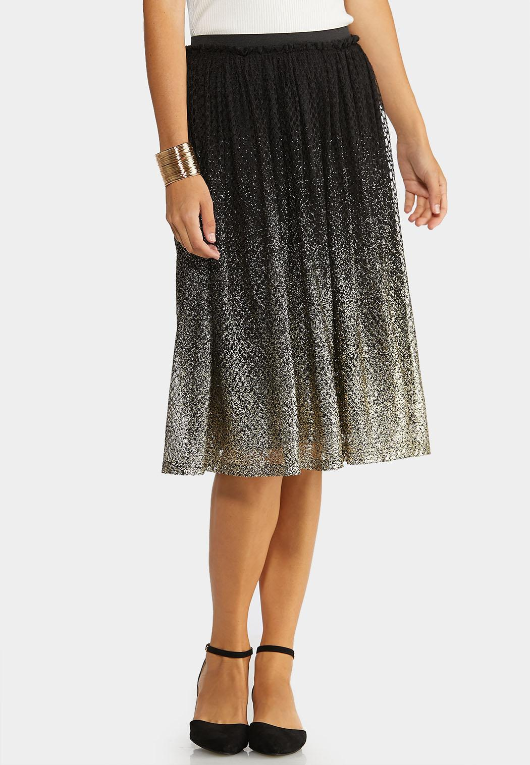Plus Size Glitter Ombre Party Skirt