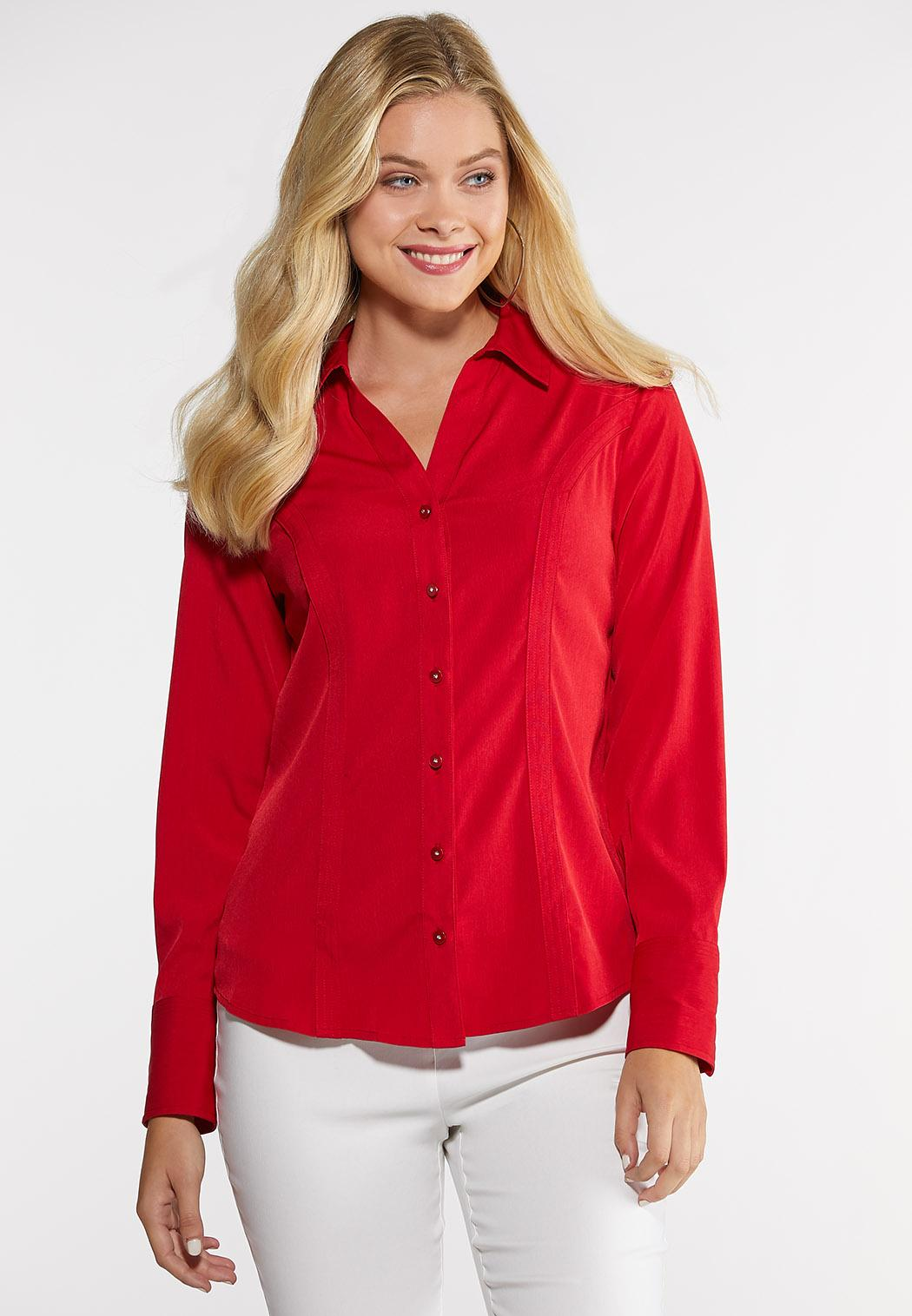 Plus Size Rhinestone Button Pleated Shirt