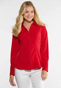 Plus Size Rhinestone Button Pleated Shirt