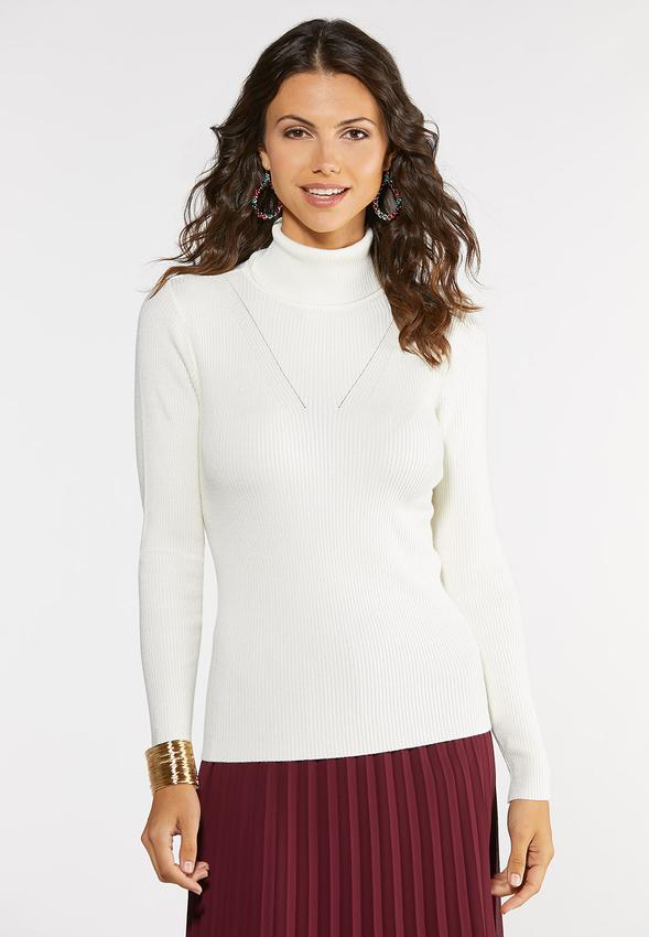 Plus Size Long Sleeve Ribbed Turtleneck Pullovers Cato Fashions