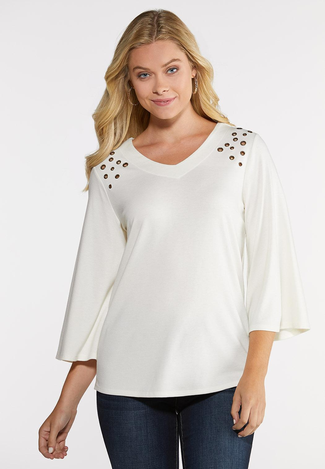 Ivory Grommet Shoulder Top
