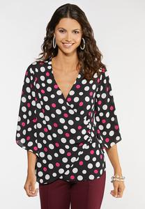 Plus Size Polka Dot Surplice Top