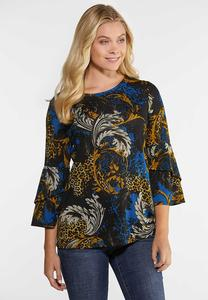 Plus Size Double Bell Sleeve Status Top