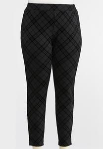 Plus Size Plaid Flocked Ponte Leggings