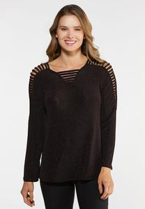 Plus Size Sparkle Ladder Sleeve Top