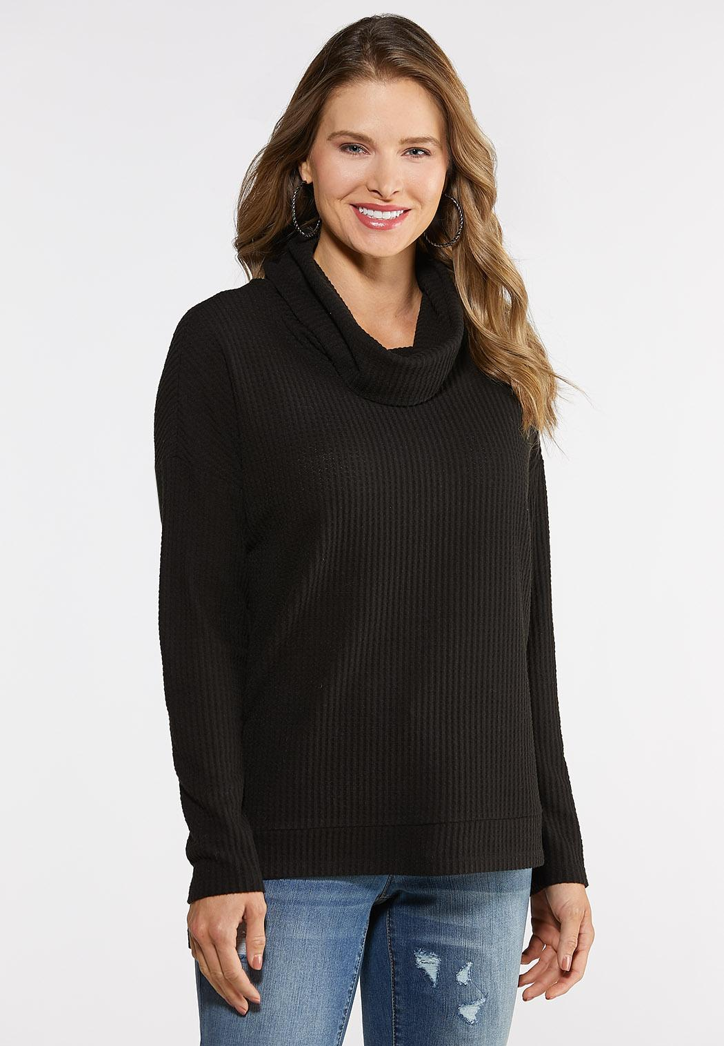 Cowl Neck Waffle Knit Top