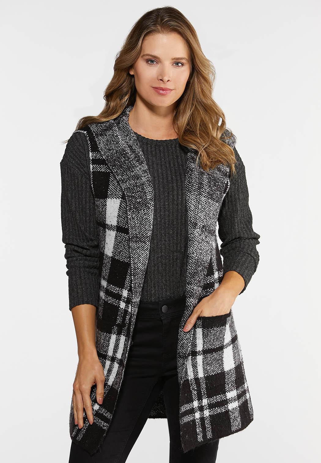 Plus Size Buffalo Plaid Hooded Vest