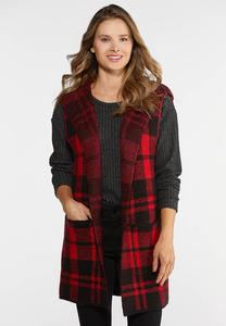 Plus Size Buffalo Plaid Hooded Vest