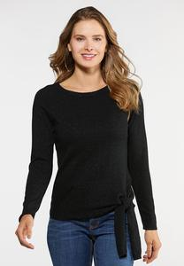 Plus Size Sparkle Tie Sweater