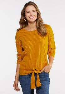 Plus Size Ribbed Tie Front Top