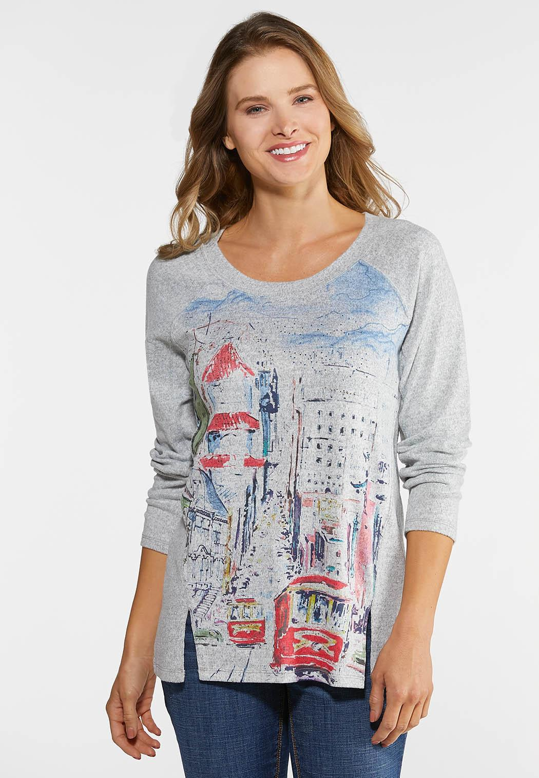 Plus Size Embellished City Scene Top