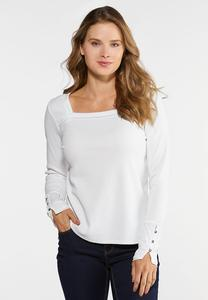 Plus Size Square Neck Waffle Top