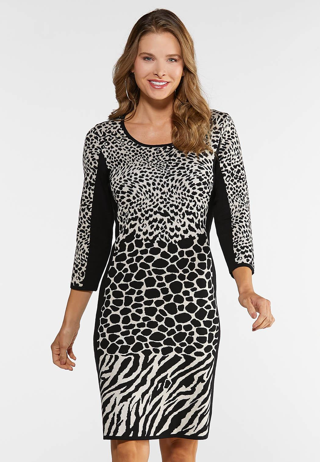 Plus Size Mixed Animal Sweater Dress Plus Sizes Cato Fashions