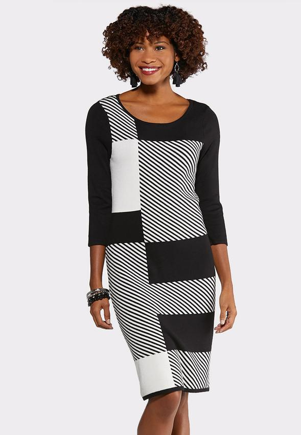 Plus Size Black And White Sweater Dress Plus Sizes Cato Fashions