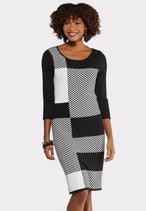 Plus Size Black and White Sweater Dress