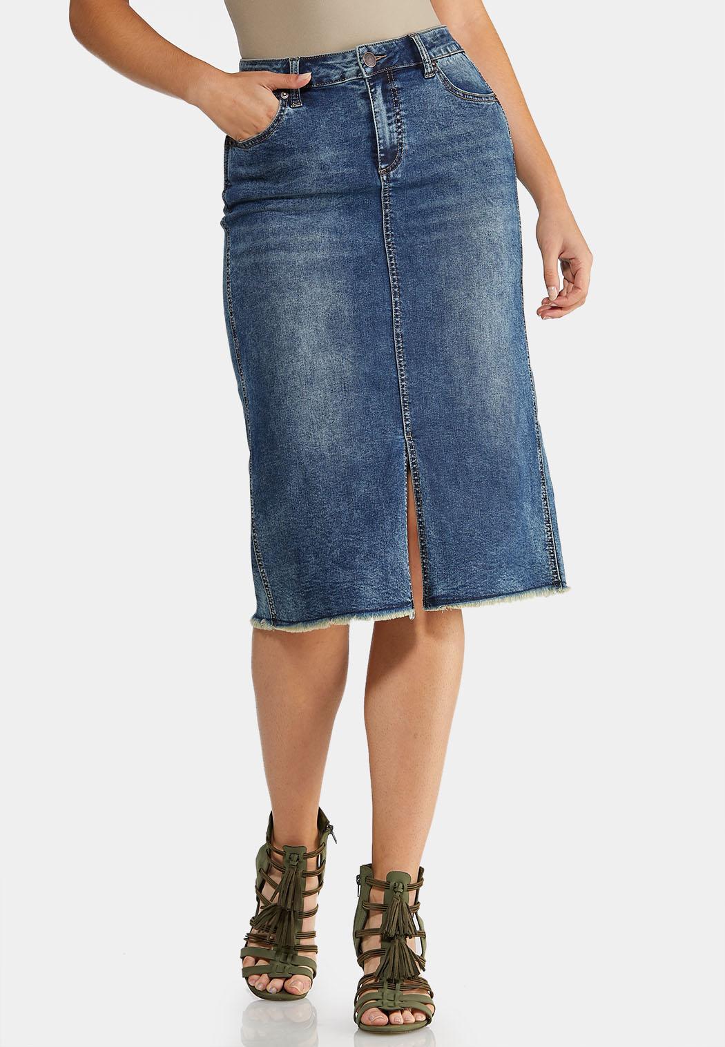 Plus Size Denim Distress Midi Skirt Skirts Cato Fashions