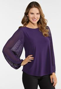 Plus Size Purple Pleated Sleeve Top