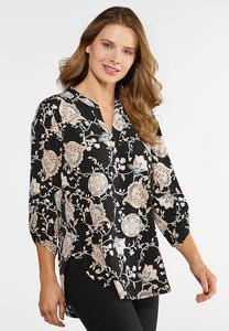 Plus Size Floral Paisley Top