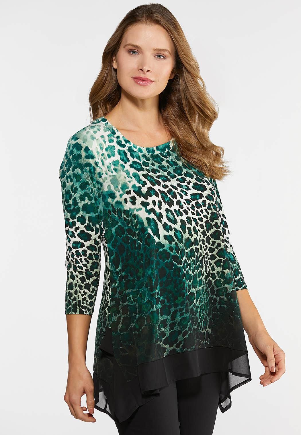 Green Leopard Print Top