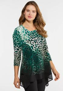 Plus Size Green Leopard Print Top