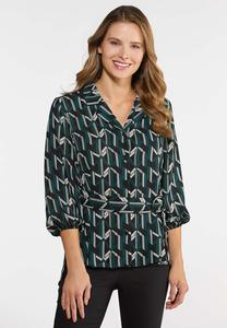 Plus Size Belted Geo Top
