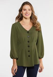 Plus Size Pleated Button Top