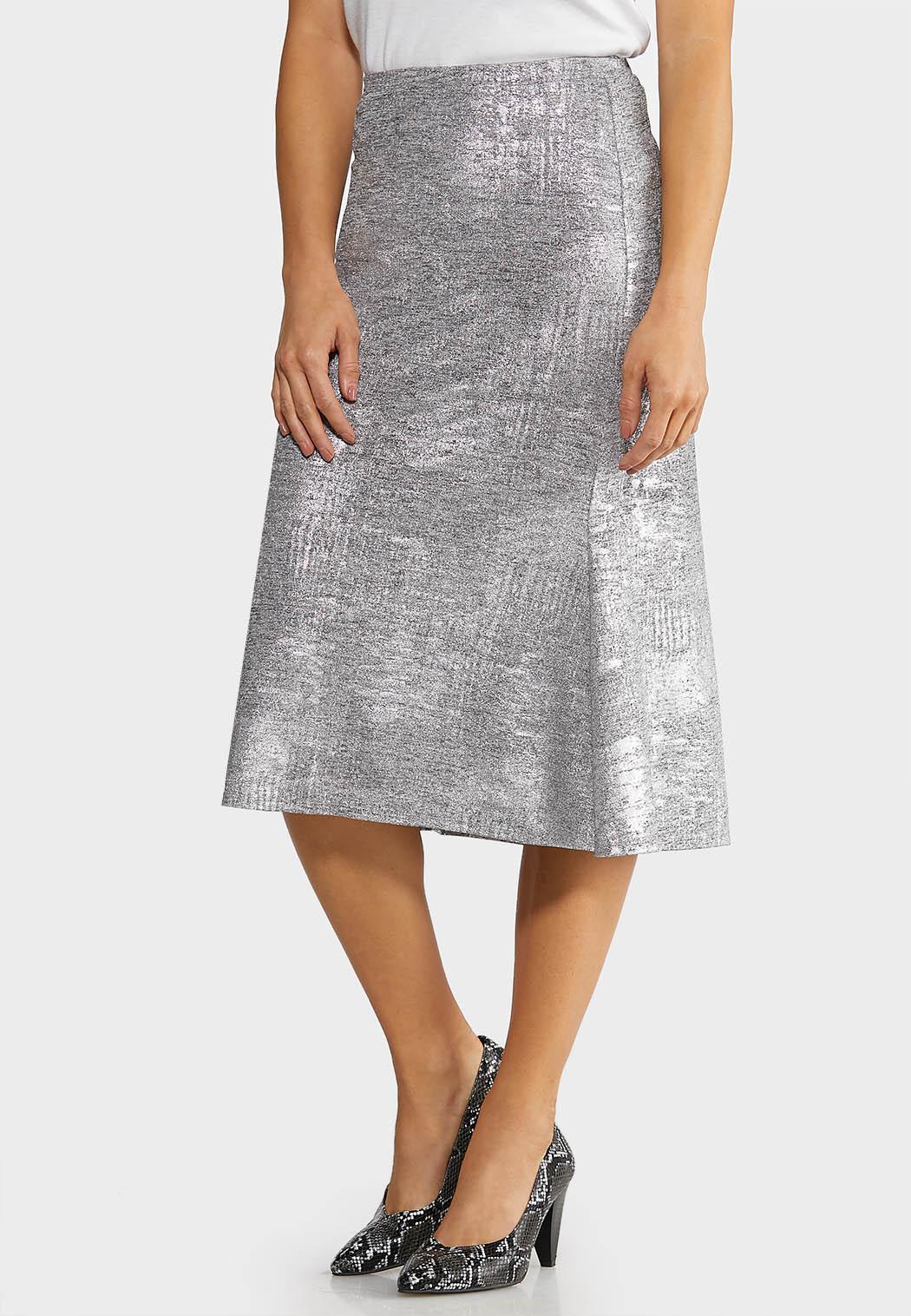 Metallic Slip Midi Skirt
