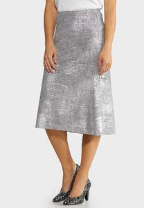 Metallic Slip Midi Skirt