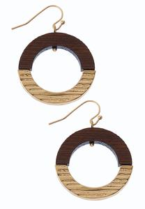 Wood Metal Circle Earrings