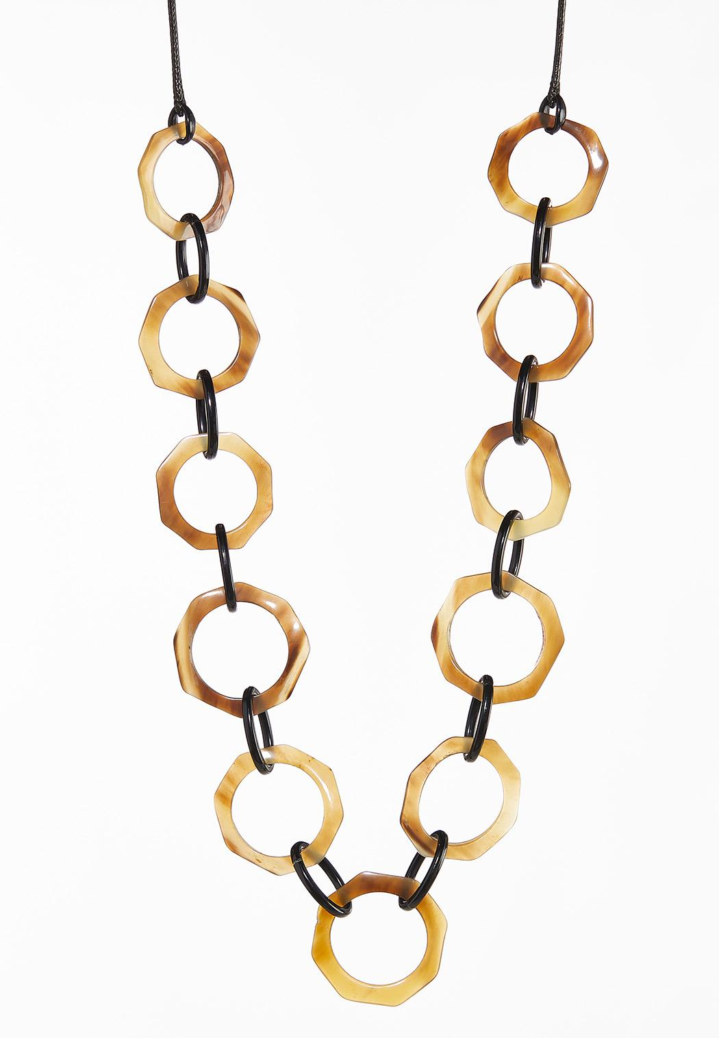 Brown Marbled Link Necklace