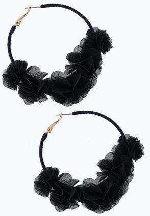 Chiffon Flower Hoop Earrings