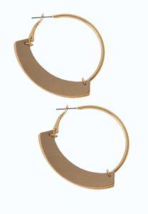 Faux Leather Gold Hoop Earrings