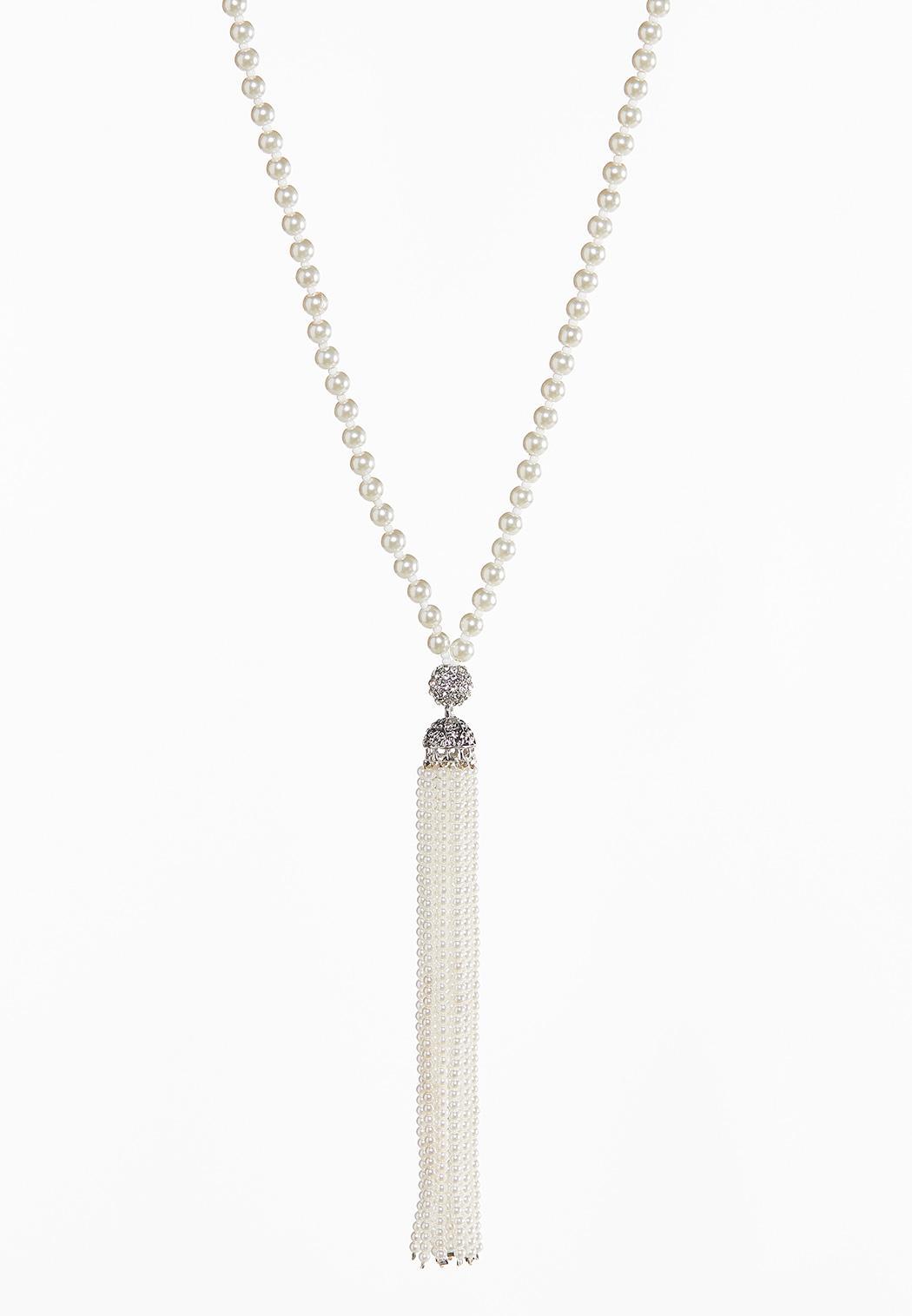 Long Pearl Tassel Necklace