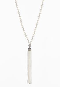 Long Pearl Tassel Necklace
