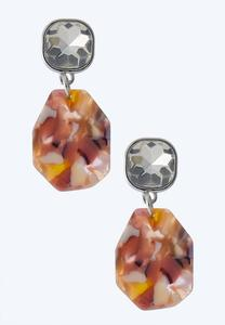 Faceted Stone And Lucite Earrings