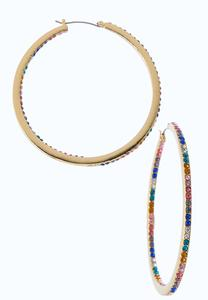 Rainbow Stone Hoop Earrings