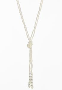 Knotted Pearl Tassel Necklace