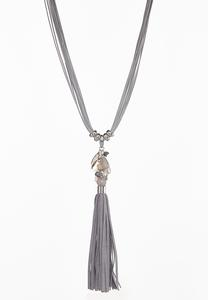 Faux Suede Tassel Necklace