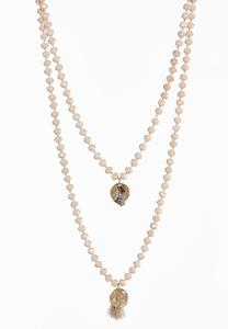 Layered Rondelle Charm Necklace